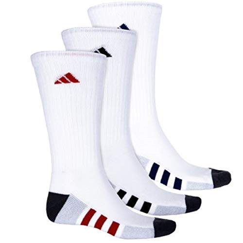 Block Stripe Socks - Adidas Men's Color-Block 3-Stripe Cushioned Moisture Wicking Crew Socks 3-Pack/ 3-Pair (Shoe Size 6-12)