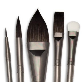 Royal Brush - Zen Brush Set - Series 83 Watercolor Short Handle Set - Pointed Oval 1'', Stiff Scrubber 8, One Stroke 1/2'', Round 2, 8