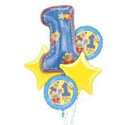 Hugs and Stitches Boy 1st Birthday Balloon Bouquet by Factory Card and Party Outlet for $<!--$26.29-->