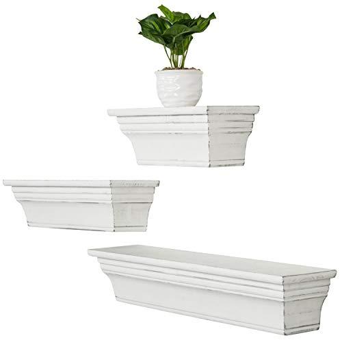 MyGift Wall-Mounted Vintage White Wood Floating Shelves, Set of 3