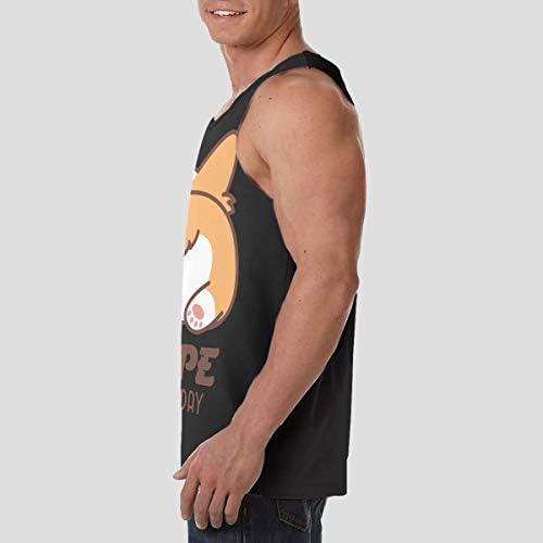Corgi Butt ランニング ジョギング 男性の筋肉タンク 通気性 速乾