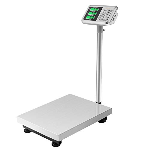 300KG/661lb LCD Weight Electronic Platform Scale, Perfect for Luggage Package Price Shipping and Folding Postal Weight Scale Durable Large Platform (Stainless Steel)