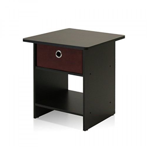 End Table/Night Stand Storage Shelf with Bin Drawer, Dark