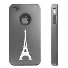 Apple iPhone 4 4S 4 Silver D2722 Aluminum & Silicone Case Cover Paris Eiffel Tower