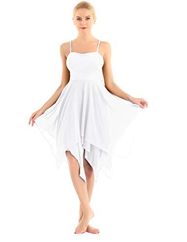 zdhoor Women's Spaghetti Strap Camisole Leotard Irregular Chiffon Ballet Lyrical Dance Dress Ballroom Costume White Medium