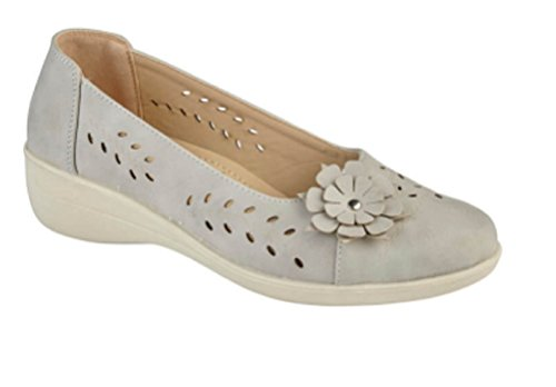 Womens Ladies Peep Toe Or Closed Toe Sandal Flower Summer Cut Out Shoe Size 3 4 5 6 7 8 Red Beige Black White Navy Pewter Grey 2 sMMcRlcm