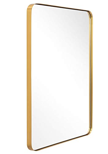ANDY STAR Bathroom Mirror for wall, Brushed Gold Metal Frame Rounded Corner - Bathroom Decorative Mirrors Transitional