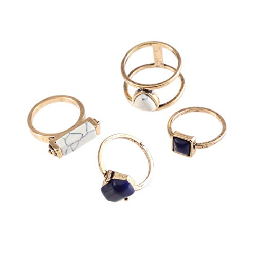 lehao 4 Piece Rings Women with Rectangular Stone Double Circle Element Set Ring Joint Ring Accessories Jewelry Gift,Ancient Gold -