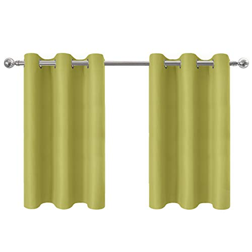 (Aquazolax Blackout Tier Curtains for Kitchen - Energy Smart Grommet Top Solid Thermal Insulated Window Valances Short Curtains Drapes, 42W by 36L Inches, Fresh Green, 2 Panels)