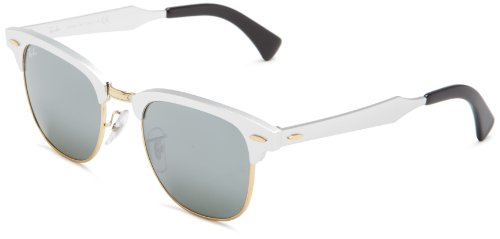 Ray-Ban RB3507 137/40 CLUBMASTER ALUMINUM - BRUSHED SILVER/ARISTA Frame GREY MIRROR Lenses 51mm - Bans Ray Aluminum