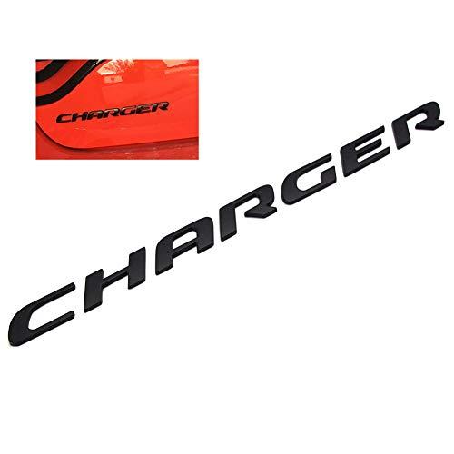 - WindCar 3D CHARGER Emblem OEM Matte Finish Rear Trunk Metal Letters Stickers For Dodge Charger (Black)
