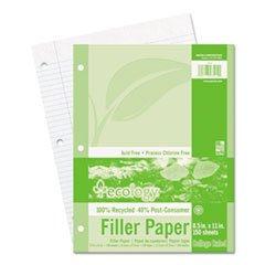 Ecology Filler Paper - (6 Pack Value Bundle) PAC3202 Ecology Filler Paper, 8-1/2 x 11, College Ruled, 3-Hole Punch, WE, 150 Sheets/PK