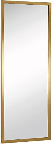 Hamilton Hills Commercial Contemporary Industrial Strength Full Length Wall Mirror Brushed Gold Metal Rectangle