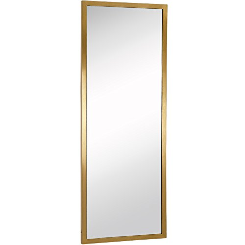 Commercial Grade Contemporary Industrial Strength Full Length Wall Mirror | Brushed Gold Metal Rectangle with Mirrored Glass | Vanity, Entrance, Bedroom, or Restroom Horizontal & Vertical (18