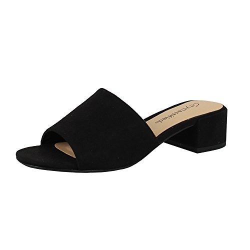 Women's City Classified Open Toe Chunky Heel Suede Slide Sandals Shoes Black 6.5