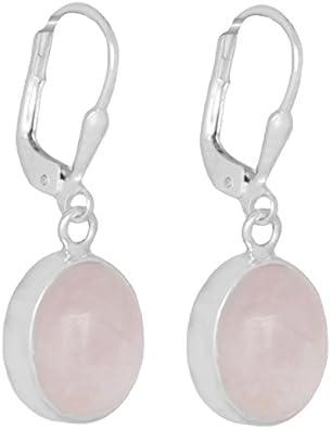 ERCE cuarzo rosa piedra semipreciosa pendientes ovales, plata de ley 925