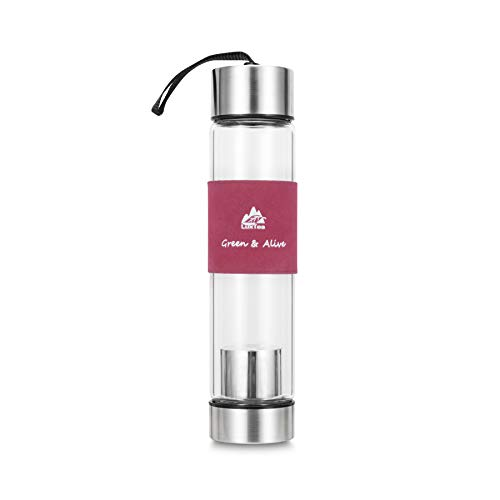 (Luxtea 16oz Insulated Glass Water Bottle with Filter Removable Infuser - Portable Leak-Proof Sport Travel Mug for Hot or Cold)