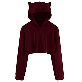 VESKRE Women's Cotton Cat Ear Long Sleeve Solid Hoodie Sweatshirt Hooded Pullover Tops Blouse Wine