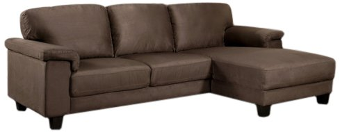 Abbyson Living Monte Carlo Microsuede Sectional Sofa, Dark Brown