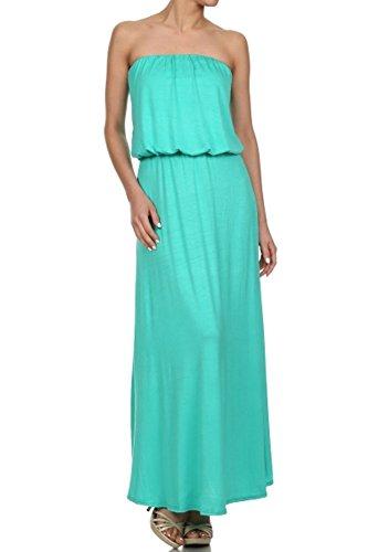 Skyfashion Women Strapless Dress Tube Loose Fitting Full Length (M, Aqua)