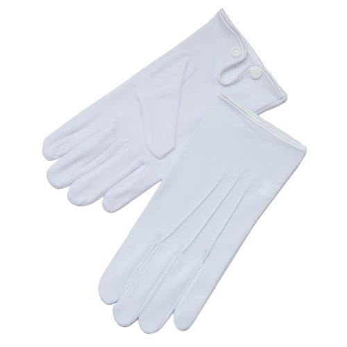 ZaZa Bridal White & Black Nylon Formal Men's Gloves with Snap Closure-Men's Size Medium/White]()