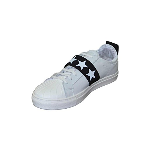 Sneakers bassa uomo pelle bianco elastico trendy stelle made in italy fondo antiscivolo