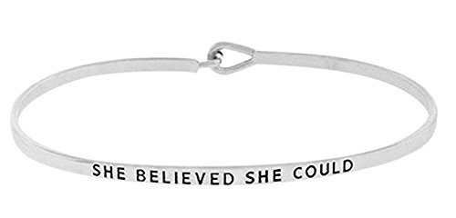 "Inspirational Encouraging ""SHE BELIEVED SHE COULD"" Silver Tone Engraved Thin Brass Bangle Hook Bracelet"