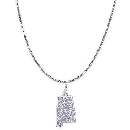 Rembrandt Charms Sterling Silver Alabama Charm on a Sterling Silver Curb Chain Necklace, 20