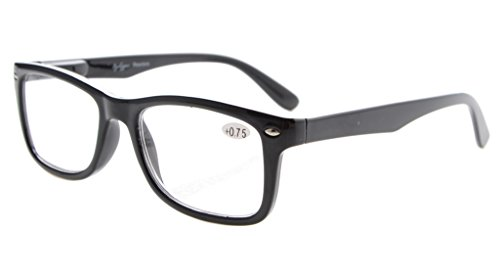 Eyekepper Readers Spring-Hinges Quality Classic Vintage Style Reading Glasses Black - Glasses Rx Reading