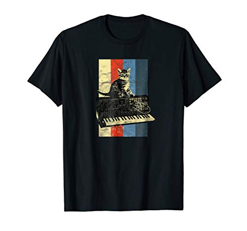 Synthesizer & Cat Vintage Analog - Synth Techno T-Shirt
