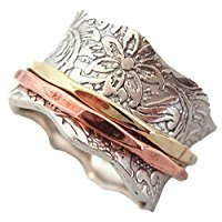 Energy Stone 925 Sterling Silver Balance & Beauty Meditation Spinner Ring Brass & Copper Spinners Leaf Pattern Base Ring (Style USA88) (10.5)