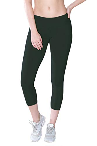 Organic Cotton Spandex Capri Leggings, Non-GMO, Eco Friendly, Made in The USA (Large, Cactus)
