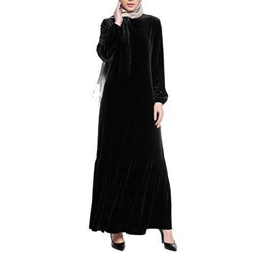 Black Vintage Mujeres Vestido Abaya Manga De Larga Terciopelo Elegante Pliegues Dobladillo Volantes Casual qvrqwRx7
