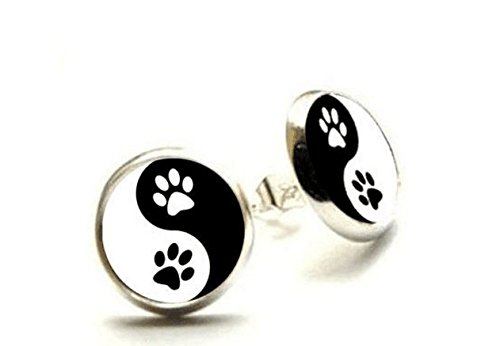 Yin Yang Paw Print Zen Earrings, Animal Dog Cat Jewelry, Yin Yang Hypoallergenic Earrings (Silver) (Online Costume Jewelry Stores)