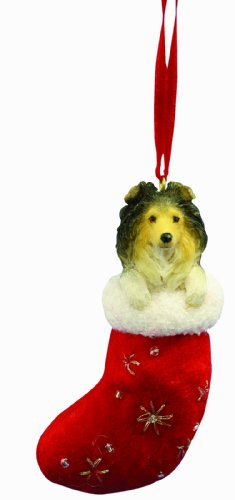 (Sheltie Christmas Stocking Ornament with