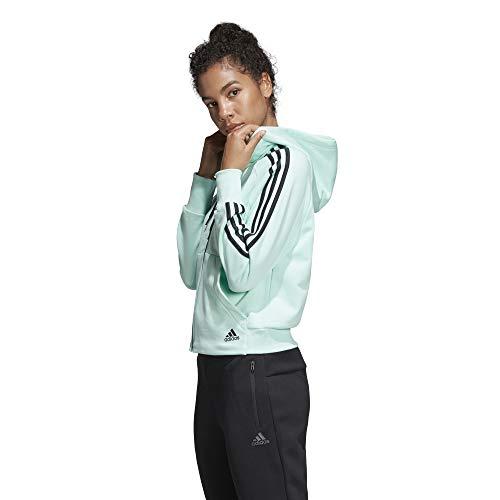 Donna stripes Turquoise Must Women's Full zip 3 Hoodie Vert Cappuccio Con Haves Felpa Adidas 5PIwnxqOO