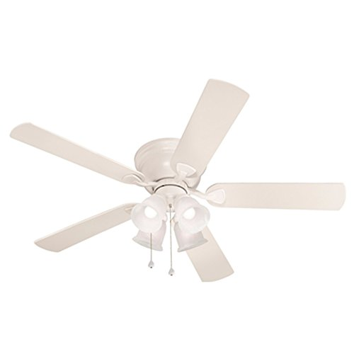 - Harbor Breeze Centreville 52-in White Flush Mount Indoor Ceiling Fan with Light Kit
