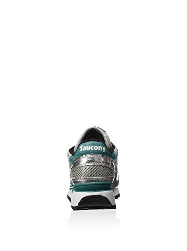 Saucony Originals Damen Shadow O Metallic-SMU Sneaker, Silberfarben/Grün, 38 EU