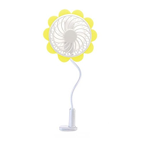 (Baby Breeze Portable USB Rechargeable Fan - Yellow Sunflower Design, Baby Stroller Fan Premium Cooling Fan with an Adjustable Neck, Variable Speeds - Baby Stroller - Office Desk - Home - Car Fan)