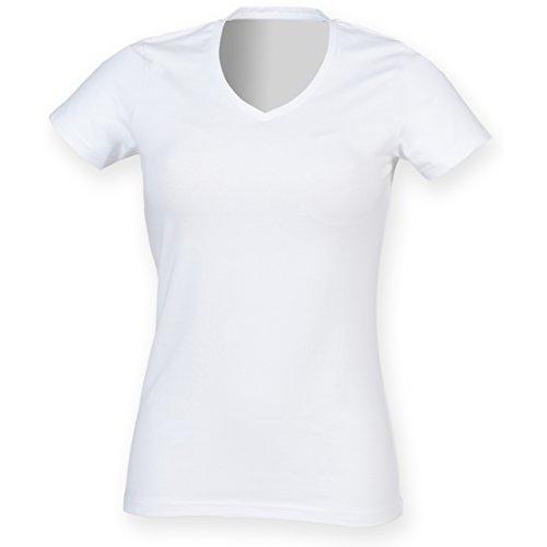 Bianco Donna V Scollo Fit Maglietta a Skinni xwYq1Bn