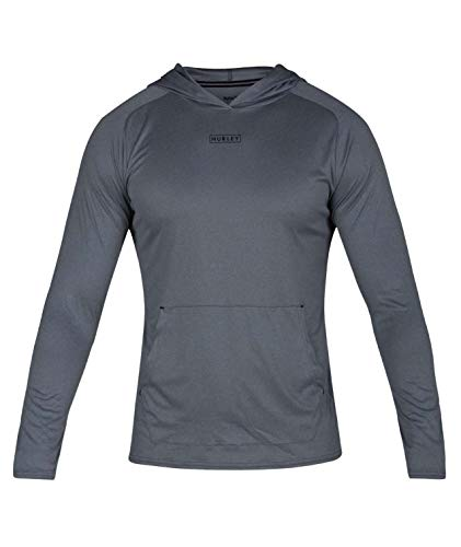 Hurley Men's Nike Dri-Fit Long Sleeve Sun Protection +50 UPF Rashguard, Cool Grey Pullover Hoodie, L ()