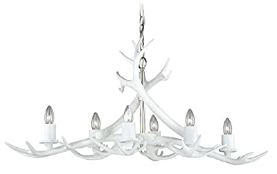 "Vaxcel H0161 Vail 6 Light Antler Island Light, 37.5"" x 37.5"" x 17"", Polished Nickel Finish"