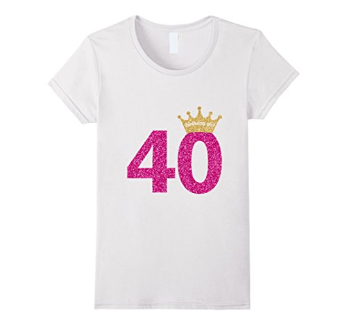 Princess Womens Pink T-shirt (Women's 40th Birthday Girl Pink Princess Queen Shirt Large White)