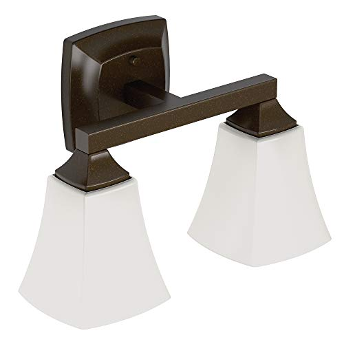 - Moen YB5162ORB Voss Collection 2 Dual-Mount Bath Bathroom Vanity Light Fixture with Frosted Glass, Oil Rubbed Bronze