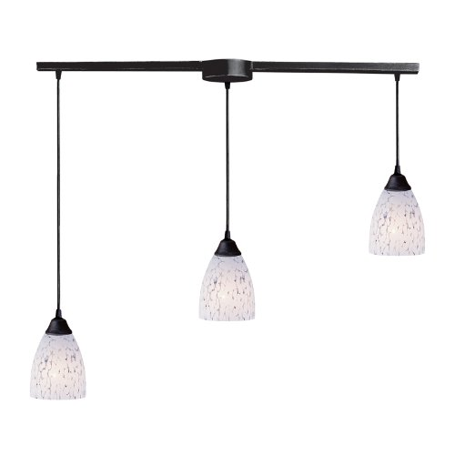 3 Light Pendant In Dark Rust And Show White -