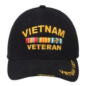 Military Caps Vietnam Veteran Logo Baseball Cap, Black, Adjustable