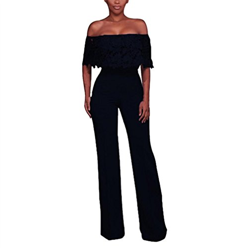 WuyiMC Womens Sexy Off Shoulder High Waisted Long Wide Leg Jumpsuits Rompers with Reffle 4 Colors (XL, Yellow)