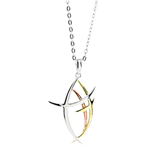 Contemporary Fish 'Walk Worthy' Yellow and Rose Gold Plate, Rhodium Plated Sterling Silver Necklace, 18'' by The Men's Jewelry Store