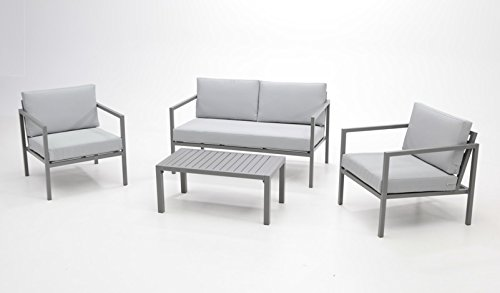 Set Sofa De Terraza Paros Aluminio Gris Amazon Es Jardín