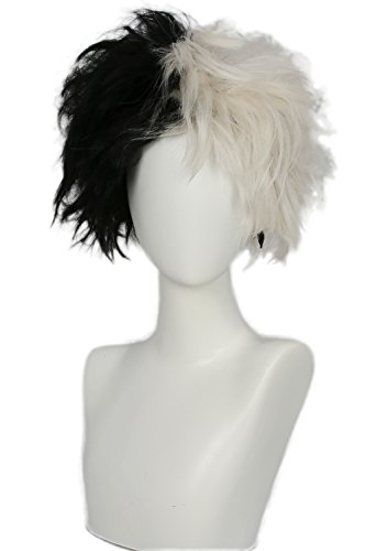 Coslive Cruella Cosplay Wig Black and White Wig Hair Costume Accessories for $<!--$9.99-->